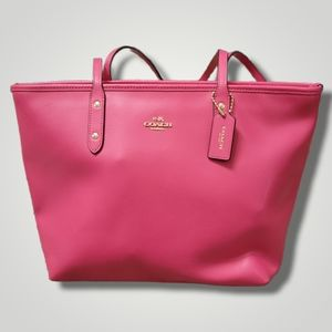 Coach Hot Pink City Zip Top Tote